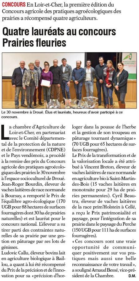 Concours prairies fleuries 2018 récompense 4 agriculteurs